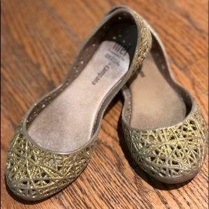 Girls Gold Mini Melissa slip on ballet shoe